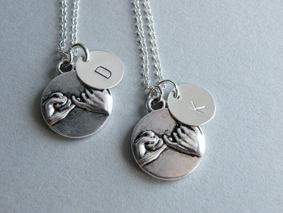 Set of 2 Pinky Promise Necklace, Personalized Pinky Swear Necklace, Sterling Silver Initial Charm, BFF Jewelry, Best Friends Necklace on Etsy, $32.00