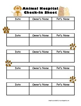 ANIMAL HOSPITAL CHECK-IN SHEET / DRAMATIC PLAY - TeachersPayTeachers.com