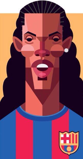 Ronaldinho with cartoon