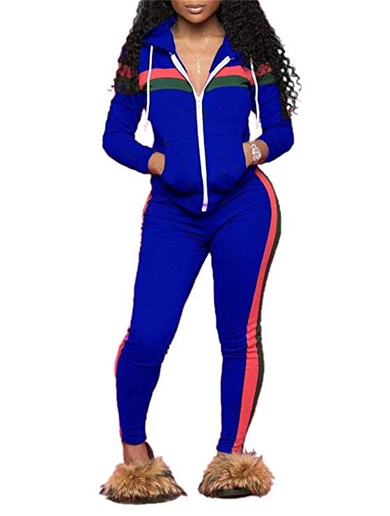 7b13bc94f2 DingAng Women s 2 Piece Outfits Zip Hoodie Sweatshirt   Sweatpants  Sweatsuits and Plus Size Tracksuit Sets Jogging Suit