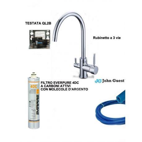 Sistema di Filtrazione Everpure completo di filtro 4DC e rubinetto 3 vie e raccordi