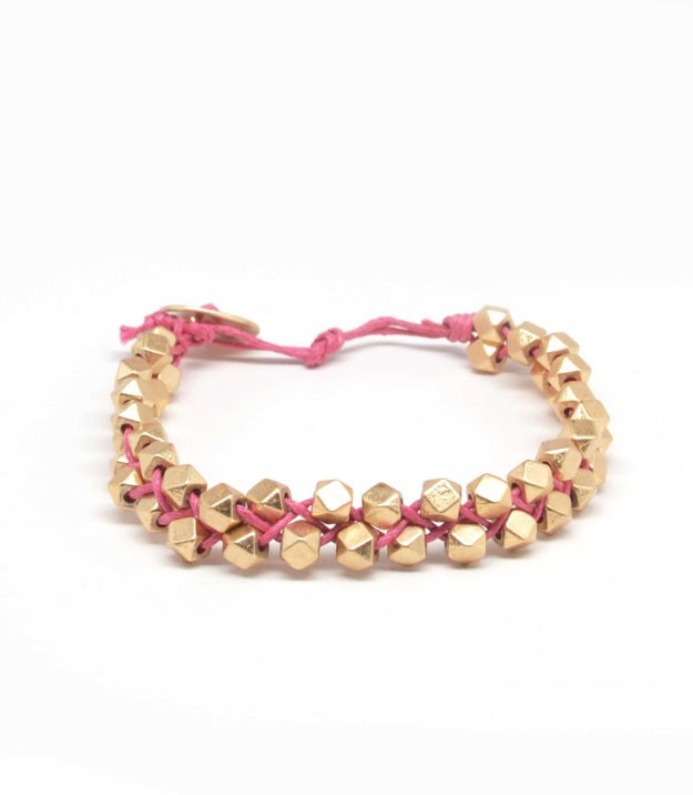 Mini Octagon Pink String Bracelet - I'm loving pink & gold!