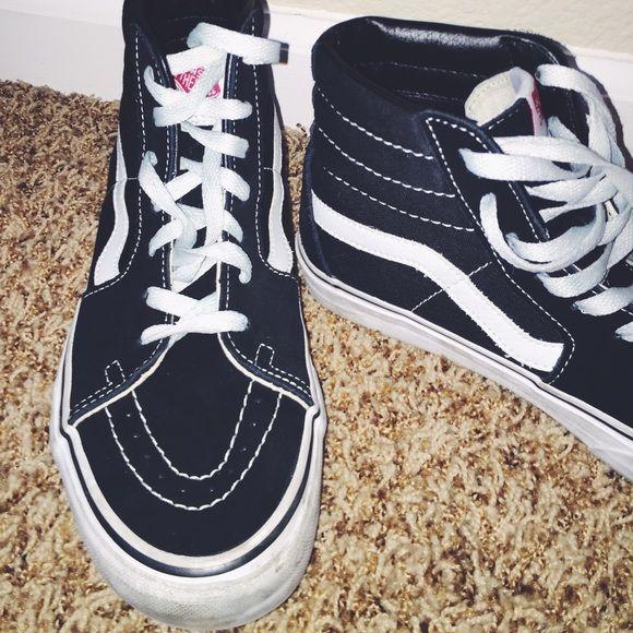 Vans skate highs black with leather inside (worn 4 times ) Vans Shoes Sneakers