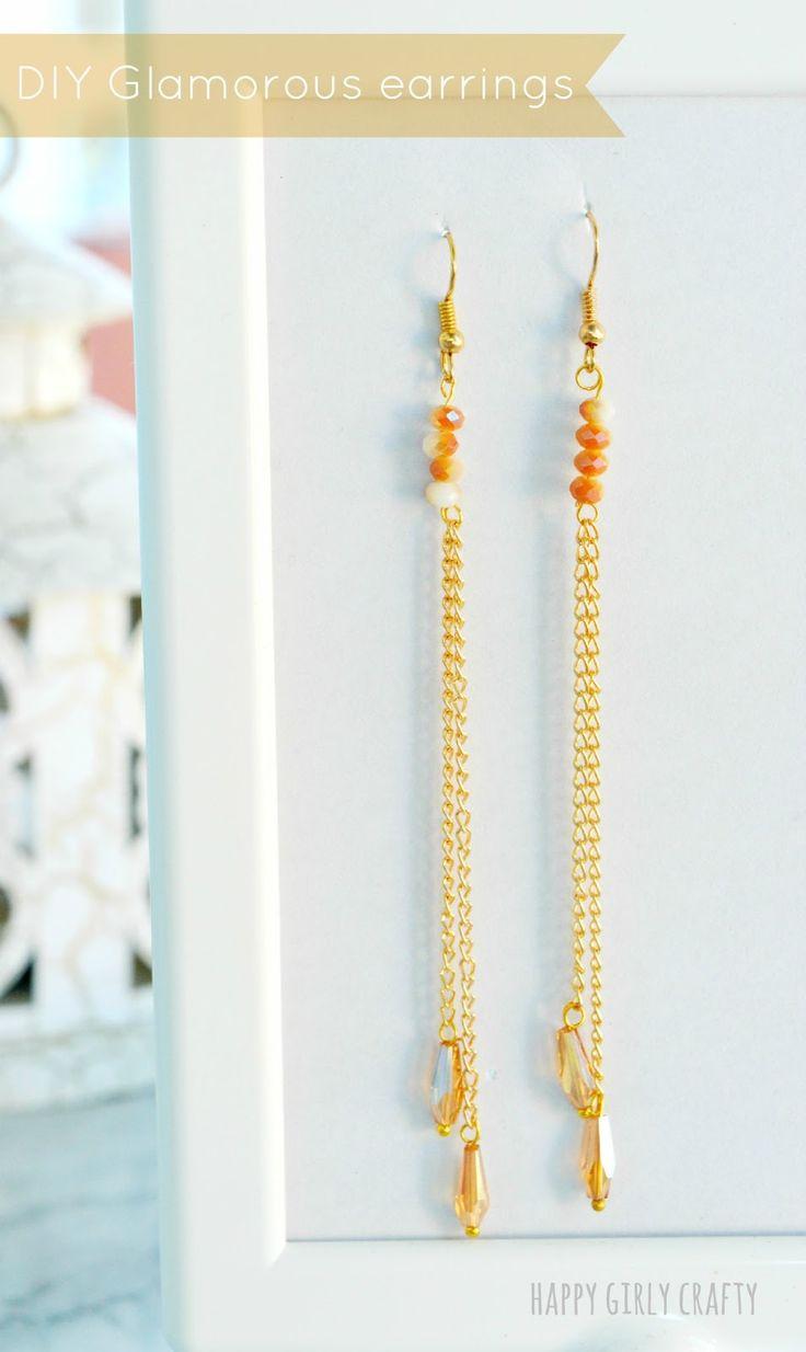 happy girly crafty: Glamorous chain beaded earrings DIY