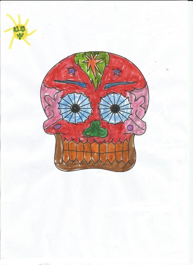 Coloriage t te de mort mexicaine de sara carnet de voyage mexique pinterest - Dessin tete de mort mexicaine ...