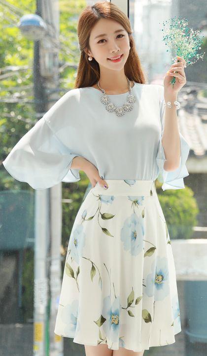 StyleOnme_Pastel Floral Print Flared Skirt #pastel #blue #sweet #datelook #koreanfashion #kstyle #kfashion #feminine #skirt #floral #summertrend