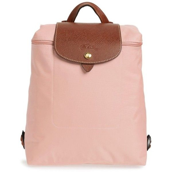Womens Longchamp Le Pliage Backpack (£100) ❤ liked on Polyvore featuring bags, backpacks, pinky, rucksack bags, longchamp rucksack, water resistant backpack, pink bag and longchamp
