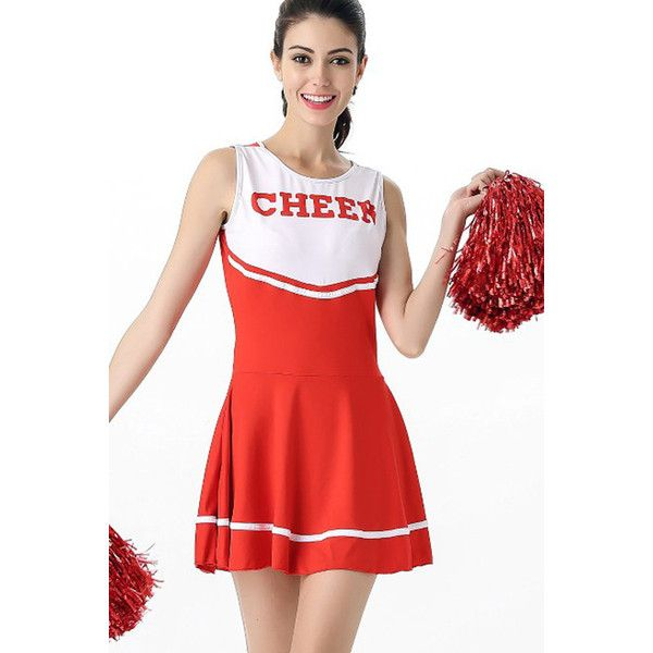 Red Sexy Cheerleader Dress High School Uniform Costume ($19) ❤ liked on Polyvore featuring costumes, red, sexy costumes, red halloween costumes, sexy cheerleader halloween costume, sexy halloween costumes and cheerleader costume