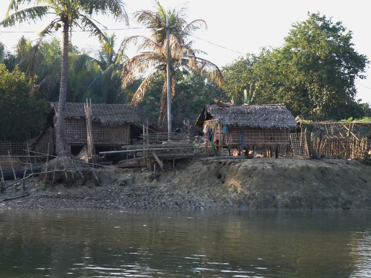 House on banks of river in the Chin State, Myanmar