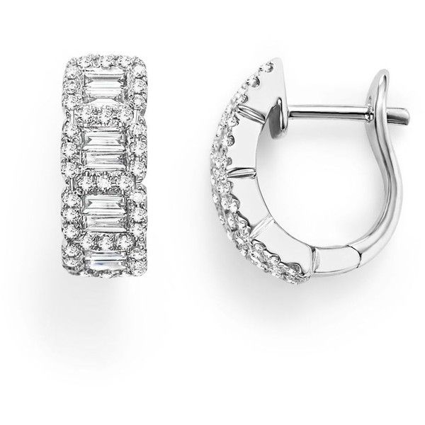 Round And Baguette Diamond Huggie Earrings In 14k White Gold 75 Ct 4 800 Liked On Polyvore Featuring Jewelry Whit