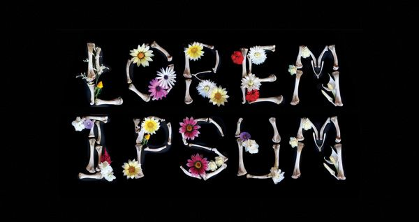 Hand made type from bones and flowers. Student Work