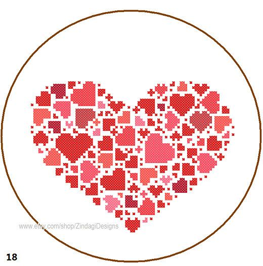 Instant Download Cross Stitch Pattern Heart full of heart red pink valentine cute  love wall cushion pillow geometrical abstract card gift