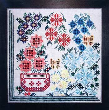 Hothouse Blooms (Hardanger embroidery)