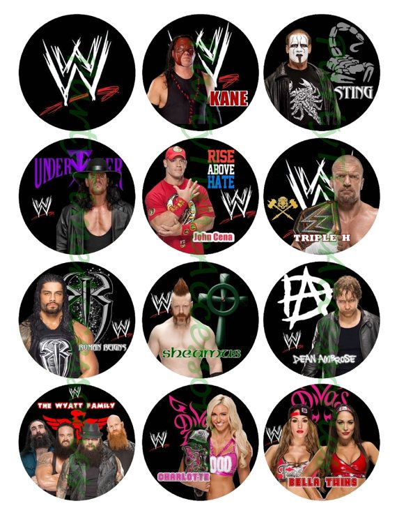 WWE B Wrestling Edible Cupcake/Cookie by PartyTimeAccessories