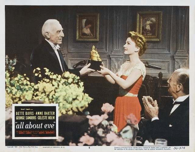 """Winning at all costs... Eve Harrington receives the Sara Siddons Society statue in  """"All About Eve"""", 1950.  A masterpiece."""