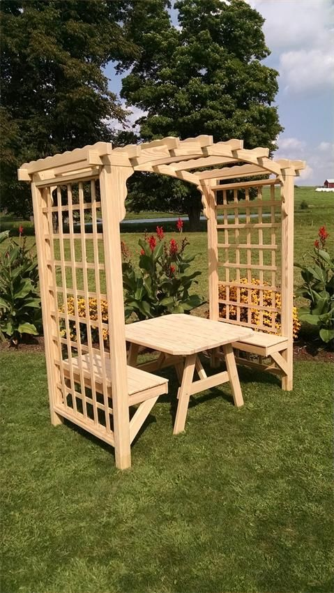 Pine Wood Cambridge Outdoor Arbor with Benches and Table