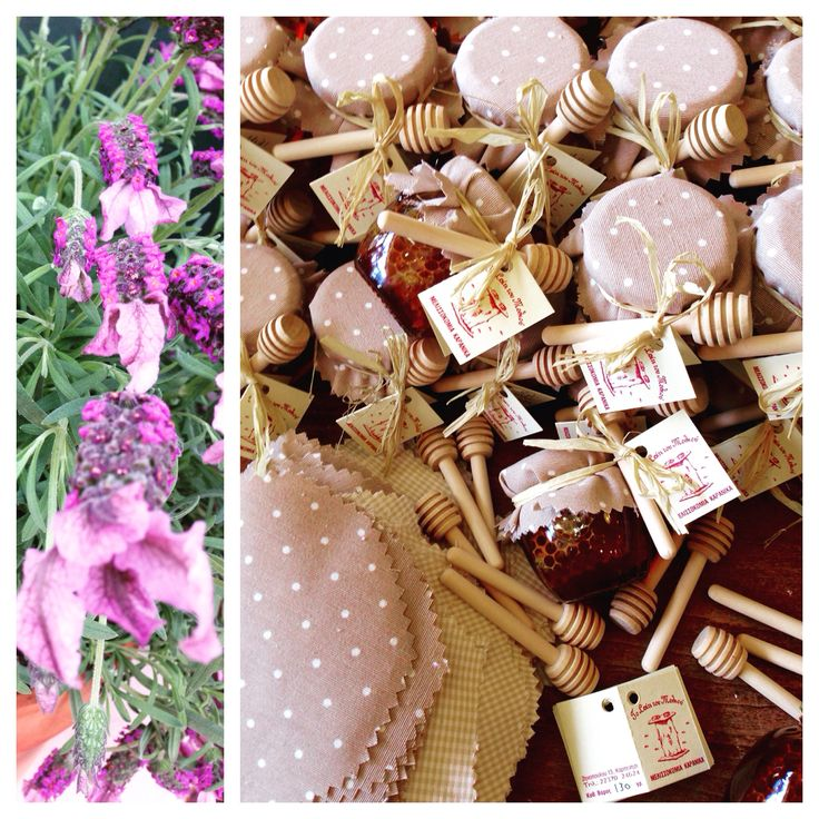Fir honey with honeycomb in mini jar & mini honey dipper, great favor for wedding & baptism guests - Μπομπονιέρα με μέλι Ελάτης και κηρήθρα σε μινιατούρα βαζάκι (130γρ.) με μίνι μελιέρα!!!