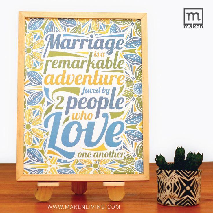 SEP15-05//Pernikahan merupakan sebuah petualang baru dalam hidup. Wall decoration ini bisa menjadi pilihan kado pernikahan untuk sahabat, saudara, atau teman kantor lho. Yuk pesan sekarang!