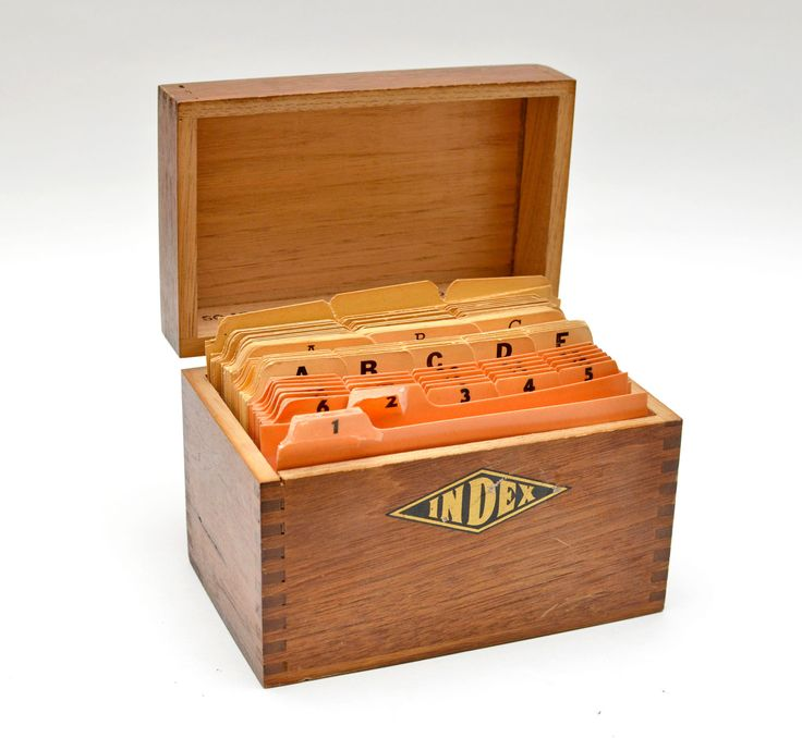 Vintage Wood Index Box Full with Vintage Index Cards Letters, Months, Numbers and Blank by vtgwoo on Etsy