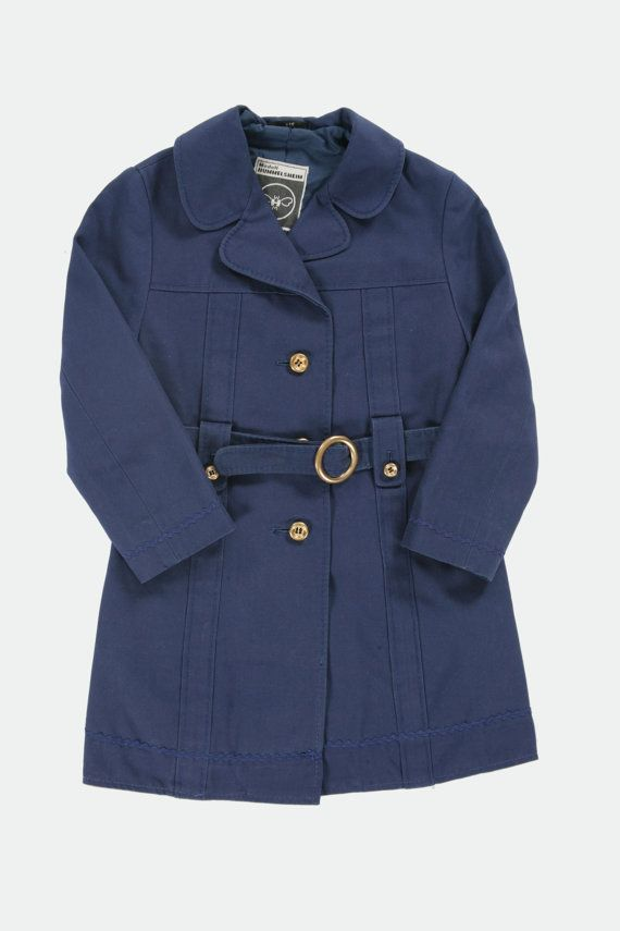 Girls navy vintage trench coat. Age 67 by PeachandLoveVintage, £45.00