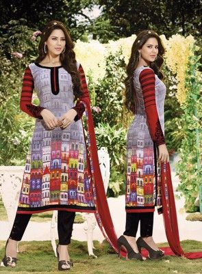 #Grey and #Maroon Digital Printed #Chudidar #Suit On digital printed georgette top with embroidered sleeves and neck, santoon inner and bottom, Pure chiffon dupatta with stone work.