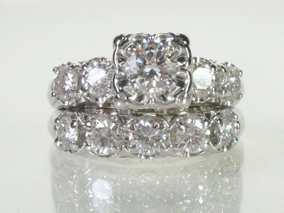 Vintage Diamond Wedding Ring Set  151 Carats