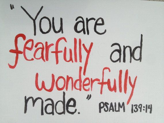 Psalm Fearfully Wonderfully Made Red Heart by BlackSheepBrushes