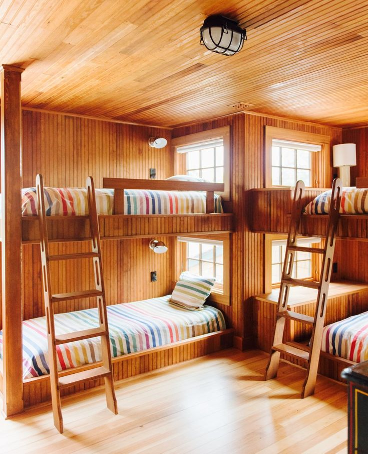 All wooden double bunk bed room design | Hannah Childs Interiors
