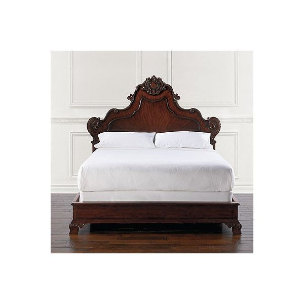 Catania Mediterranean Bed - Queen ($2,795) ❤ liked on Polyvore featuring home, furniture, beds, bed frames, interior furnishings suites, mahogany furniture, brown furniture, ornate furniture, queen furniture and hand carved mahogany furniture