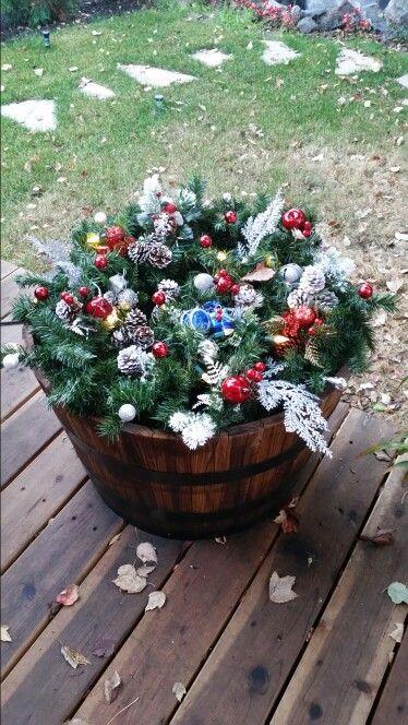 Whiskey Barrel Christmas Christmas Decorations Diy