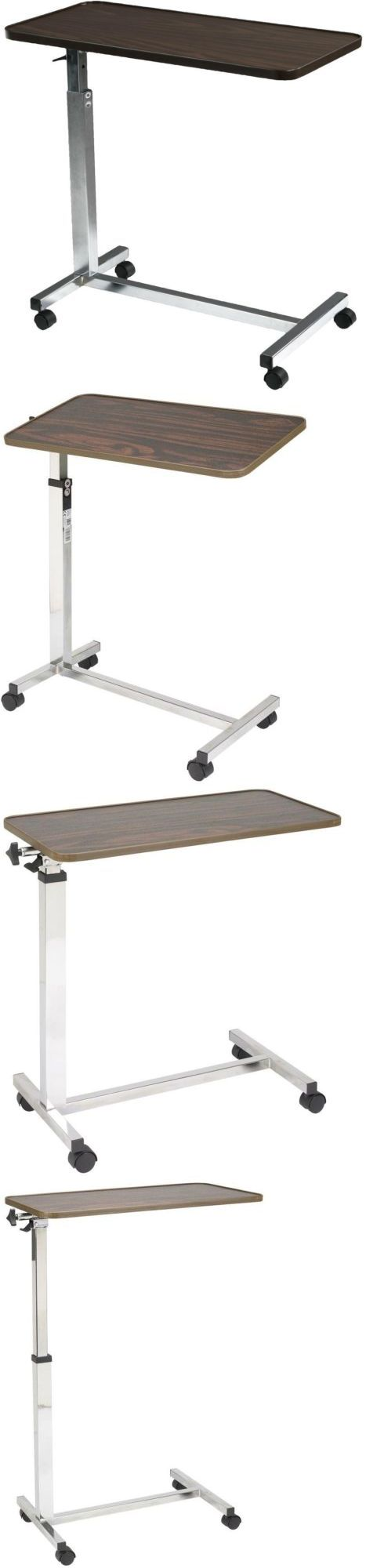 Overbed table food tray non tilt top bed hospital adjustable rolling - Bed And Chair Tables Hospital Overbed Table Tilt Top Adjustable Rolling Wooden Drive Medical
