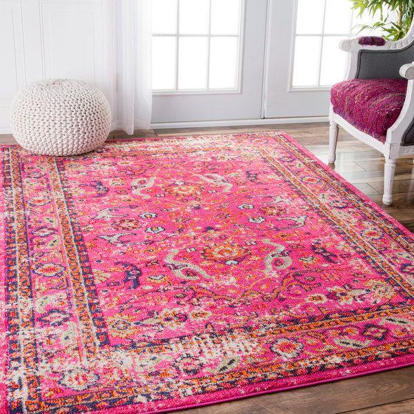 237.99 (5x7) NuLOOM Traditional Vintage Floral Distressed Pink Rug (5u00273 X