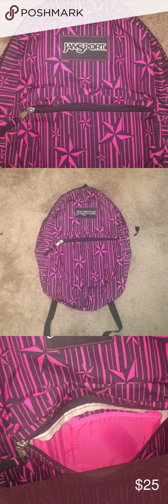 Jansport backpack Selling a really fun black and pink Jansport backpack with star and stripe design! Back features one small front pocket and one large pocket. Adjustable straps. Perfect condition other than pink mark on back (pictured). This bag isn't bulky but holds lots of stuff! Used twice as a carry on! Make me an offer 😊 Jansport Bags Backpacks