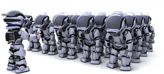 A whole army of robot take an order from their leader (digitaltrends, 2013)