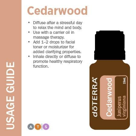 Usage Guide: Cedarwood http://www.mydoterra.com/eleanormulford/ #doterra #essentialoil #cedarwood