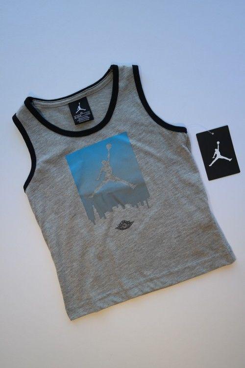 NWT NIKE AIR JORDAN Gray Tank Top Shirt w/ Blue Skyline Jumpman Logo Boys 2T #NikeAirJordan #Everyday