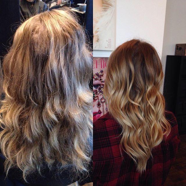 Before and after of another balayage I did. Loved the result!! #crimsonhairsalon #crimson #balayage #blonde #blondor #wella #kevinmurphy #joico #hairjoi #spring #kelowna #okanagan #kelownanow #curls