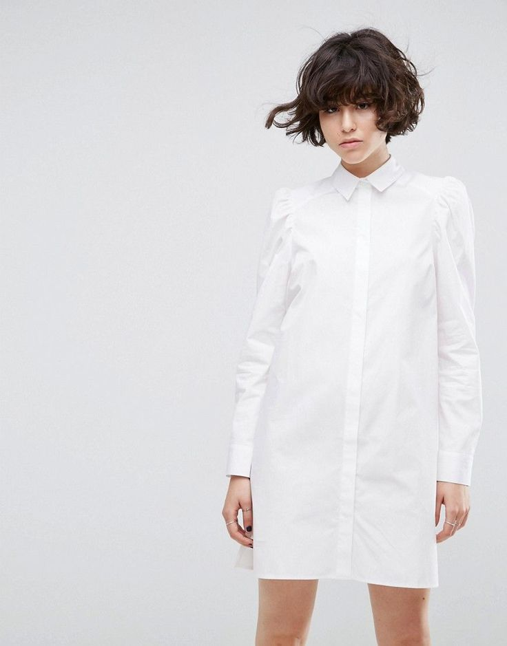 ASOS Shirt Dress with Puff Sleeve - White