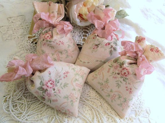 Shabby Roses Large Lavender Sachets Set of 4 by auntiesjammies, $21.00