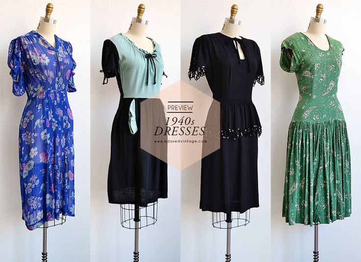 Vintage 1940s Dresses coming soon to Adoredvintage.com