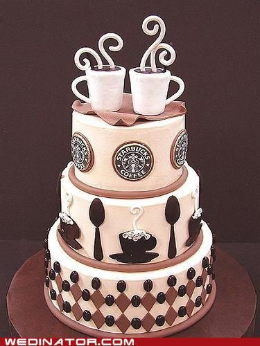 Wedding Coffee Cake - for the coffee lovers and those who dragged themselves to the wedding: Memorial Cakes, Coffee Lovers, Coffee Cakes, Starbucks Cakes, Starbucks Coffee, Memorial Lovers, Wedding Cakes, Cakes Design, Birthday Cakes