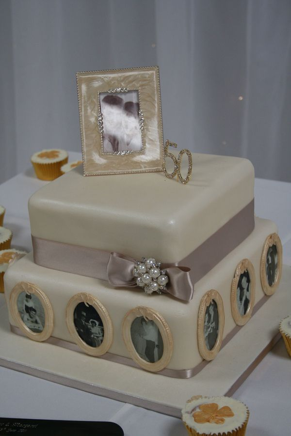 A beautiful two tiered cake, personalised to perfection with edible images throughout their years together. From the ages of fifteen to now at 70