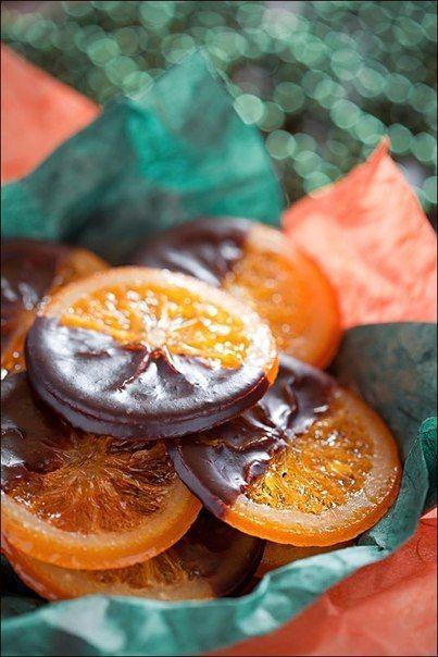 Caramelized Oranges in chocolate.