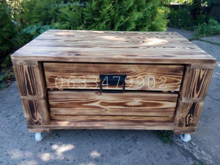"""Небольшой журнальный столик в стиле """"поддон"""". Материал новый. Столик в обжиге. Внутри ящик для хранения на телескопических направляющих. Сделаем в других размерах и цветах.  #мебельизподдонов #мебельизпаллет #экомебель #мебельиздерева #диванизподдонов #wood #diy #pallet #handmade #madeinukraine"""