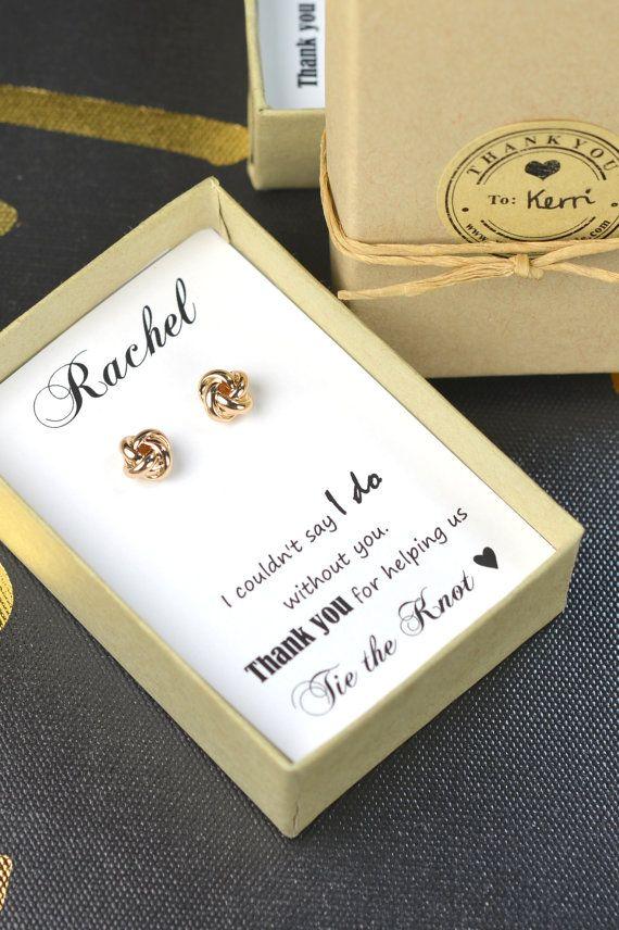 Bridesmaid Earrings,Bridesmaid Gift,Bridesmaid Jewelry,Jewelry Gift Box,Bridesmaid Tie the Knot Earrings,Be My Bridesmaid, Bridal Party Gift