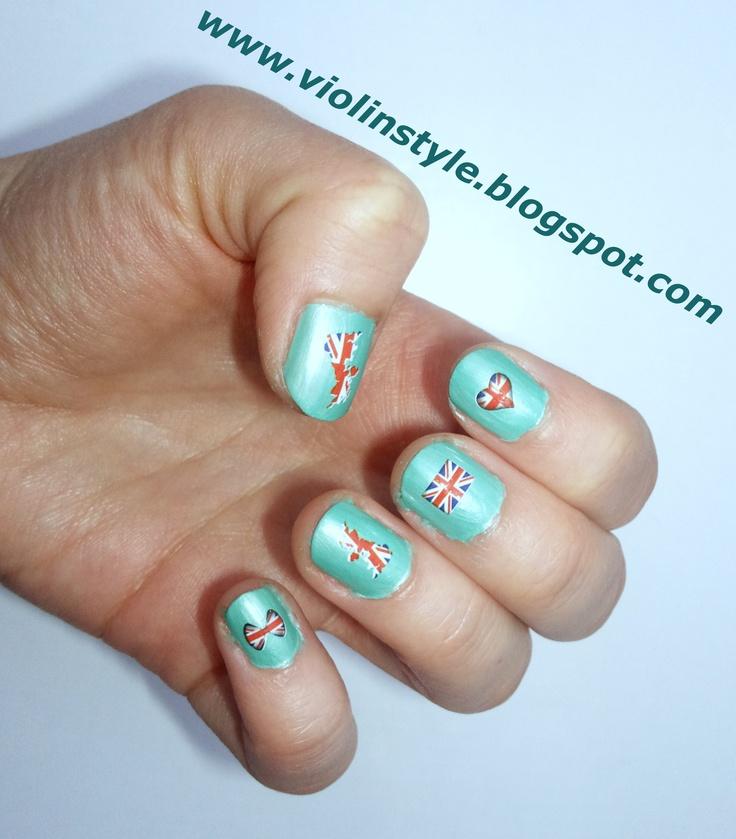 British flag motif and mint nail polish!