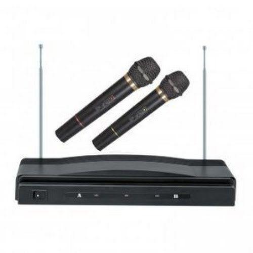 NEW KARAOKE DJ PRO DUAL 2 MIC VHF CORDLESS WIRELESS MICROPHONE SYSTEM
