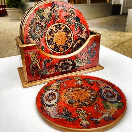 """""""Baroque Coasters"""" - Reverse Paint on Glass, Cedar wood and Bronze Leaf - Handcrafted by Alejandro Apolonio - $39"""