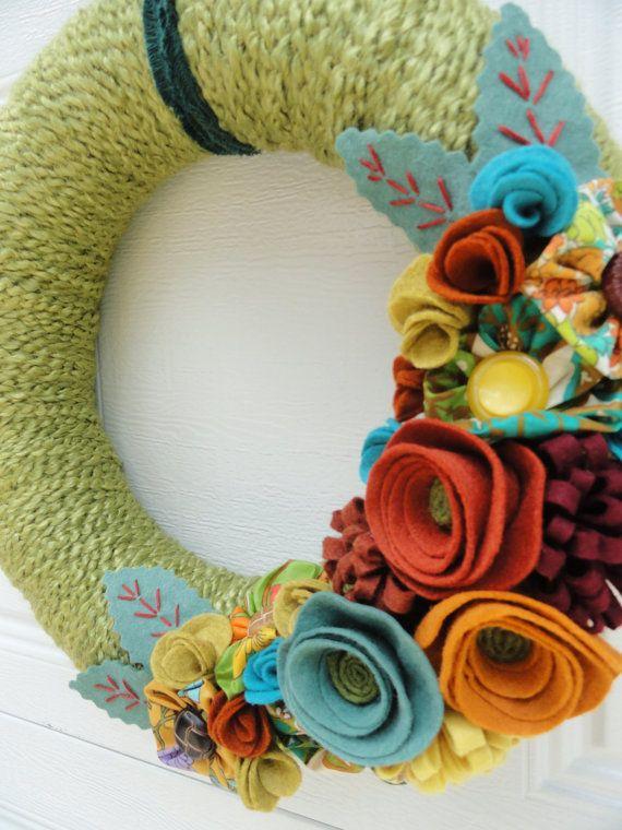 Yarn Wreath with Felt Flower- 14in- Vintage Val via Etsy