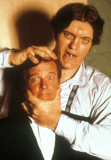 The Spy Who Loved Me (1977): James Bond (Roger Moore) vs Jaws (Richard Kiel). http://en.wikipedia.org/wiki/The_Spy_Who_Loved_Me_(film)